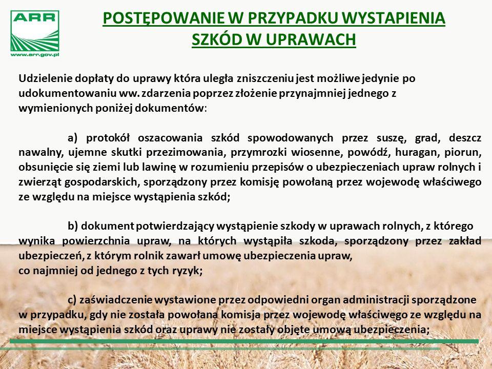 POSTĘPOWANIE W PRZYPADKU WYSTAPIENIA SZKÓD W UPRAWACH C.D.