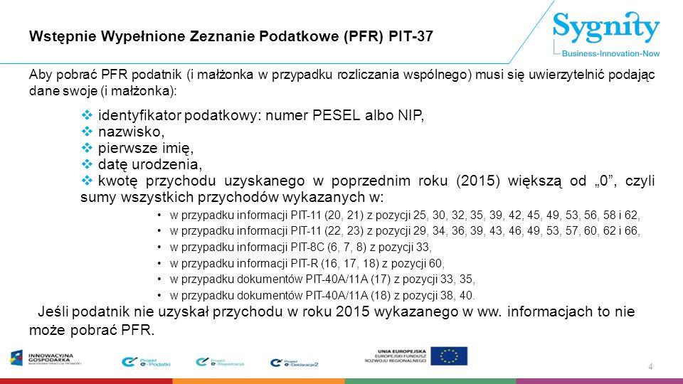 Wstępnie Wypełnione Zeznanie Podatkowe (PFR) PIT-37 5
