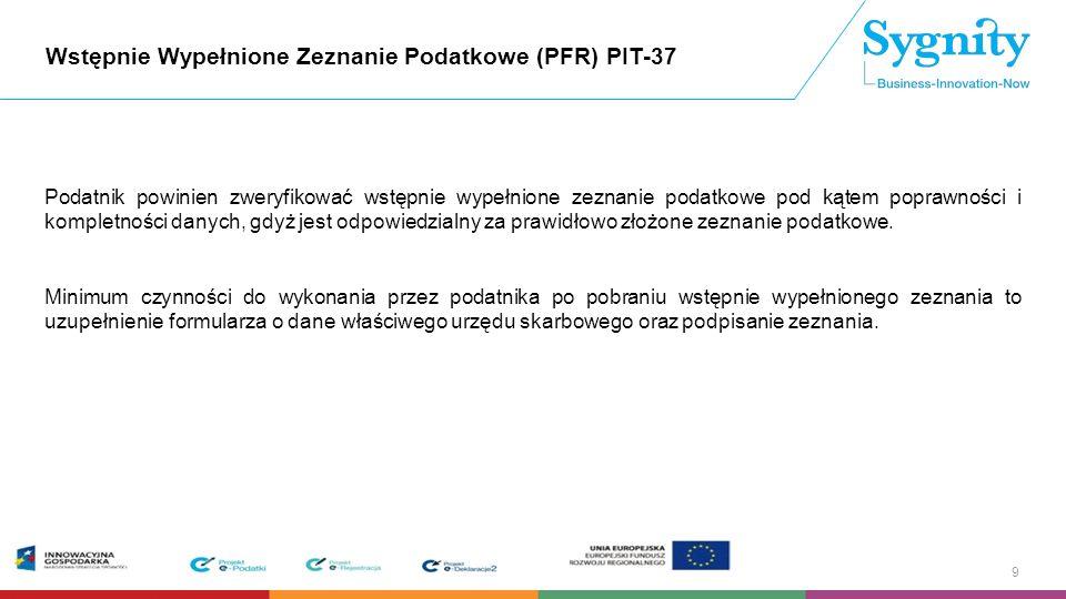 Wstępnie Wypełnione Zeznanie Podatkowe (PFR) PIT-37 W PFR PIT-37 należy wybrać:  Wstępnie wypełnione zeznanie podatkowe [PFR] indywidualne albo  Wstępnie wypełnione zeznanie podatkowe [PFR] małżeńskie Po uwierzytelnieniu się w Usłudze PFR PIT-37 i pobraniu wstępnie wypełnionego zeznania podatkowego PIT-37 podatnik ma możliwość wybrania sposobu opodatkowania zgodnie z obowiązującym formularzem PIT-37, w tym w sposób przewidziany dla osób samotnie wychowujących dzieci oraz w sposób przewidziany w art.