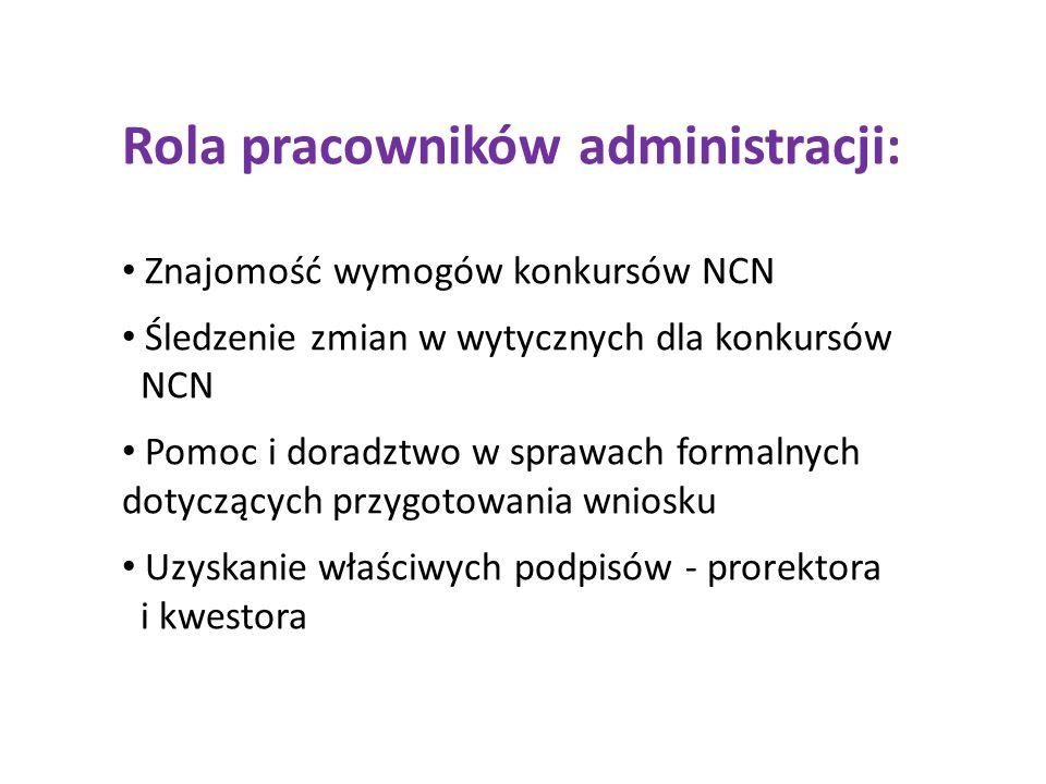 Rola pracowników administracji: Znajomość wymogów konkursów NCN Śledzenie zmian w wytycznych dla konkursów NCN Pomoc i doradztwo w sprawach formalnych dotyczących przygotowania wniosku Uzyskanie właściwych podpisów - prorektora i kwestora