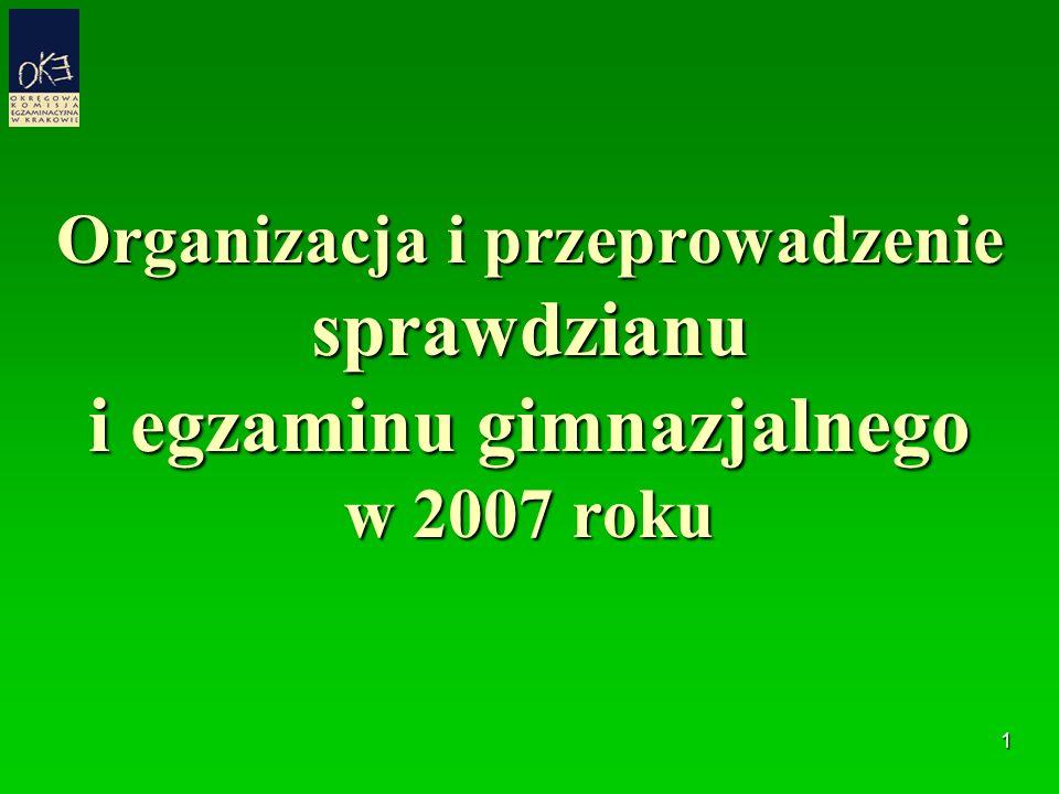 1 Organizacja i przeprowadzenie sprawdzianu i egzaminu gimnazjalnego w 2007 roku