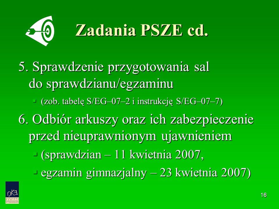 16 Zadania PSZE cd. 5. Sprawdzenie przygotowania sal do sprawdzianu/egzaminu  (zob. tabelę S/EG–07–2 i instrukcję S/EG–07–7) 6. Odbiór arkuszy oraz i