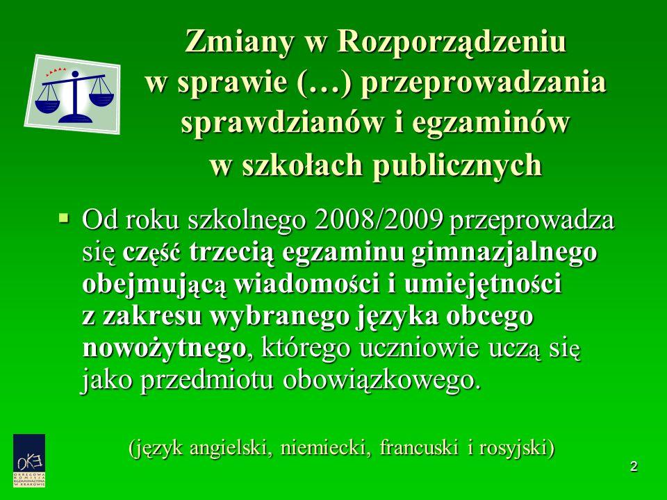 2 Zmiany w Rozporządzeniu w sprawie (…) przeprowadzania sprawdzianów i egzaminów w szkołach publicznych  Od roku szkolnego 2008/2009 przeprowadza się