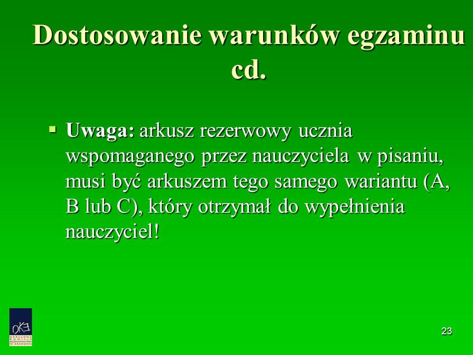 23 Dostosowanie warunków egzaminu cd.  Uwaga: arkusz rezerwowy ucznia wspomaganego przez nauczyciela w pisaniu, musi być arkuszem tego samego wariant