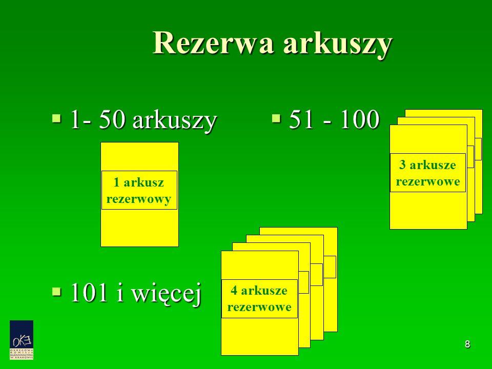 8 Rezerwa arkuszy  1- 50 arkuszy  101 i więcej  51 - 100 3 arkusze rezerwowe 1 arkusz rezerwowy 4 arkusze rezerwowe