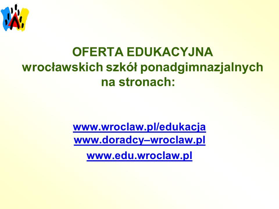 OFERTA EDUKACYJNA wrocławskich szkół ponadgimnazjalnych na stronach: www.wroclaw.pl/edukacja www.doradcy–wroclaw.pl www.edu.wroclaw.pl