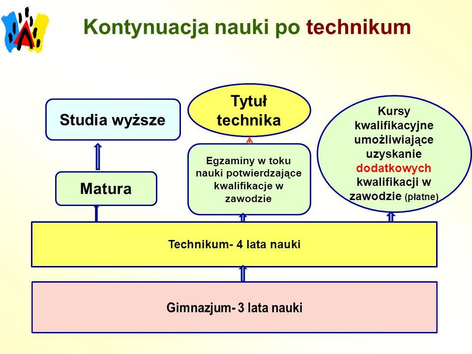 Technikum- 4 lata nauki Matura Studia wyższe Egzaminy w toku nauki potwierdzające kwalifikacje w zawodzie Tytuł technika Kursy kwalifikacyjne umożliwiające uzyskanie dodatkowych kwalifikacji w zawodzie (płatne) Kontynuacja nauki po technikum