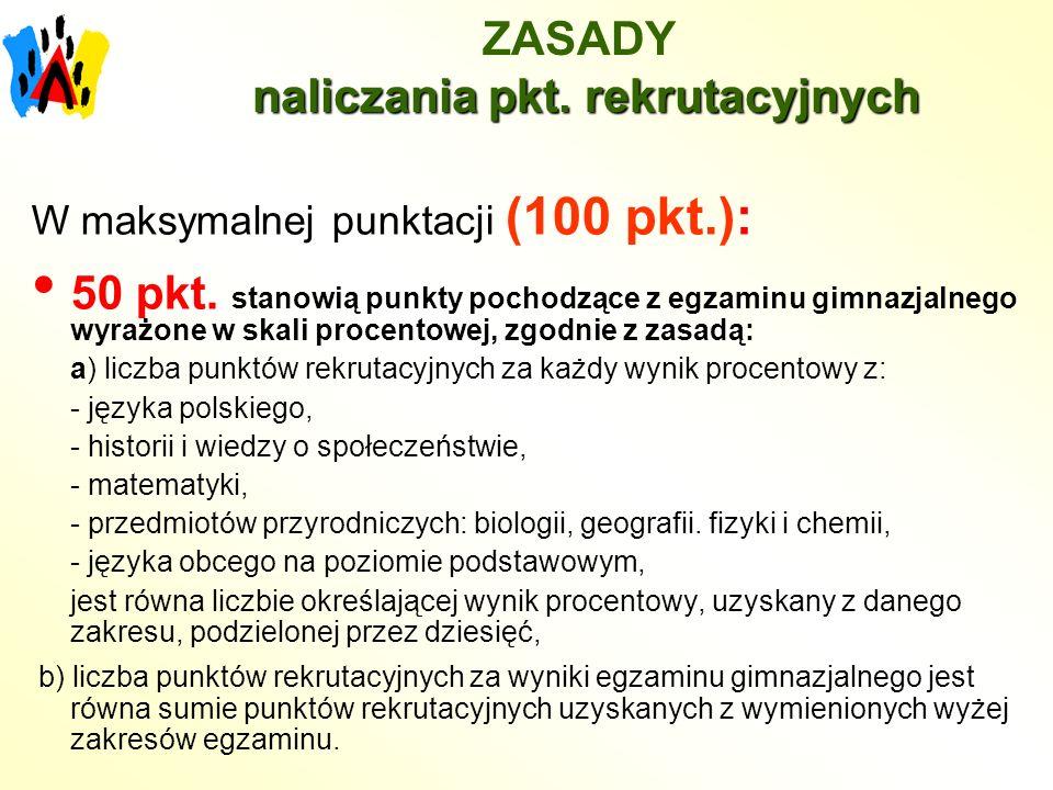 naliczania pkt. rekrutacyjnych ZASADY naliczania pkt.