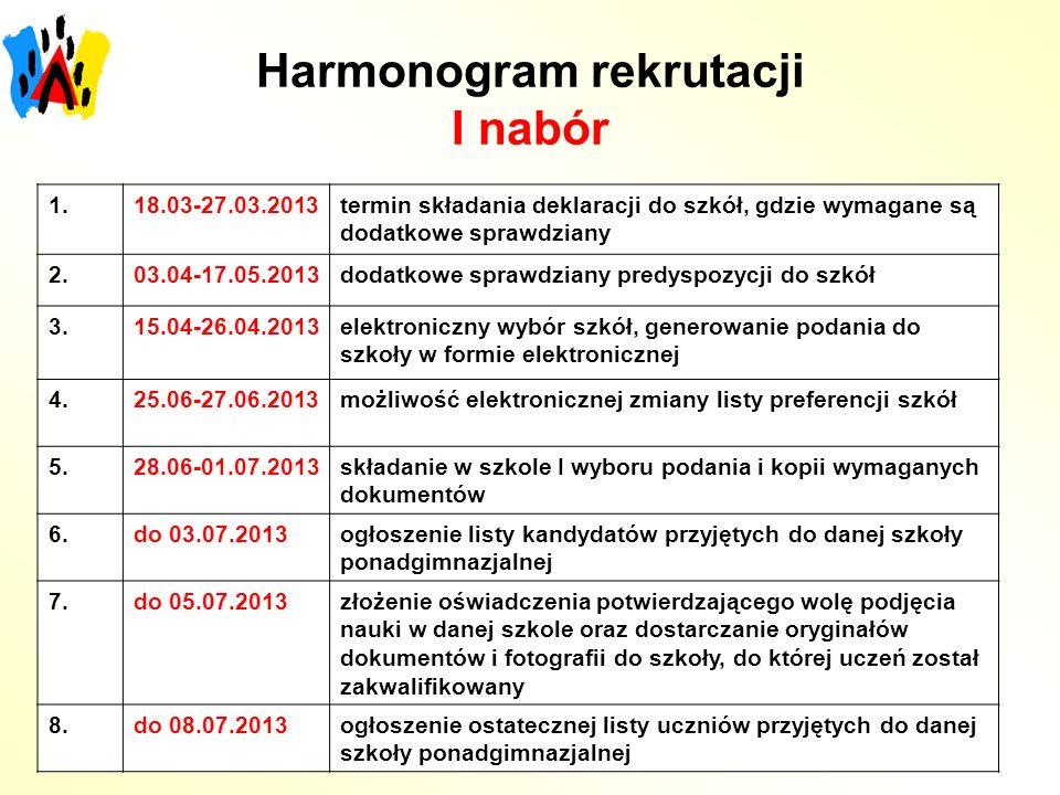 Harmonogram rekrutacji I nabór 1.18.03-27.03.2013termin składania deklaracji do szkół, gdzie wymagane są dodatkowe sprawdziany 2.03.04-17.05.2013dodat