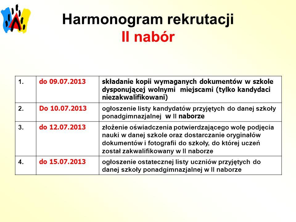 Harmonogram rekrutacji II nabór 1. do 09.07.2013składanie kopii wymaganych dokumentów w szkole dysponującej wolnymi miejscami (tylko kandydaci niezakw