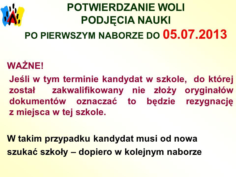 POTWIERDZANIE WOLI PODJĘCIA NAUKI PO PIERWSZYM NABORZE DO 05.07.2013 WAŻNE.