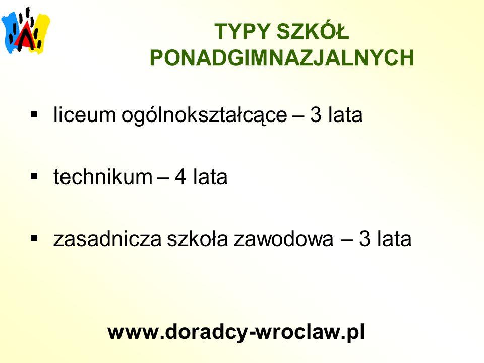 LICEUM OGÓLNOKSZTAŁCĄCE Zapewnia: przygotowanie ogólne przygotowanie do egzaminu maturalnego Umożliwia: kontynuację nauki na studiach wyższych po pozytywnym zdaniu egzaminu maturalnego www.doradcy-wroclaw.pl