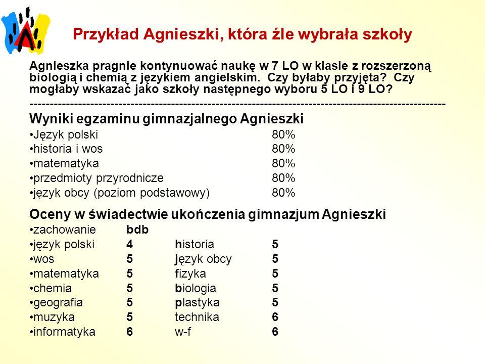 Przykład Agnieszki, która źle wybrała szkoły Agnieszka pragnie kontynuować naukę w 7 LO w klasie z rozszerzoną biologią i chemią z językiem angielskim