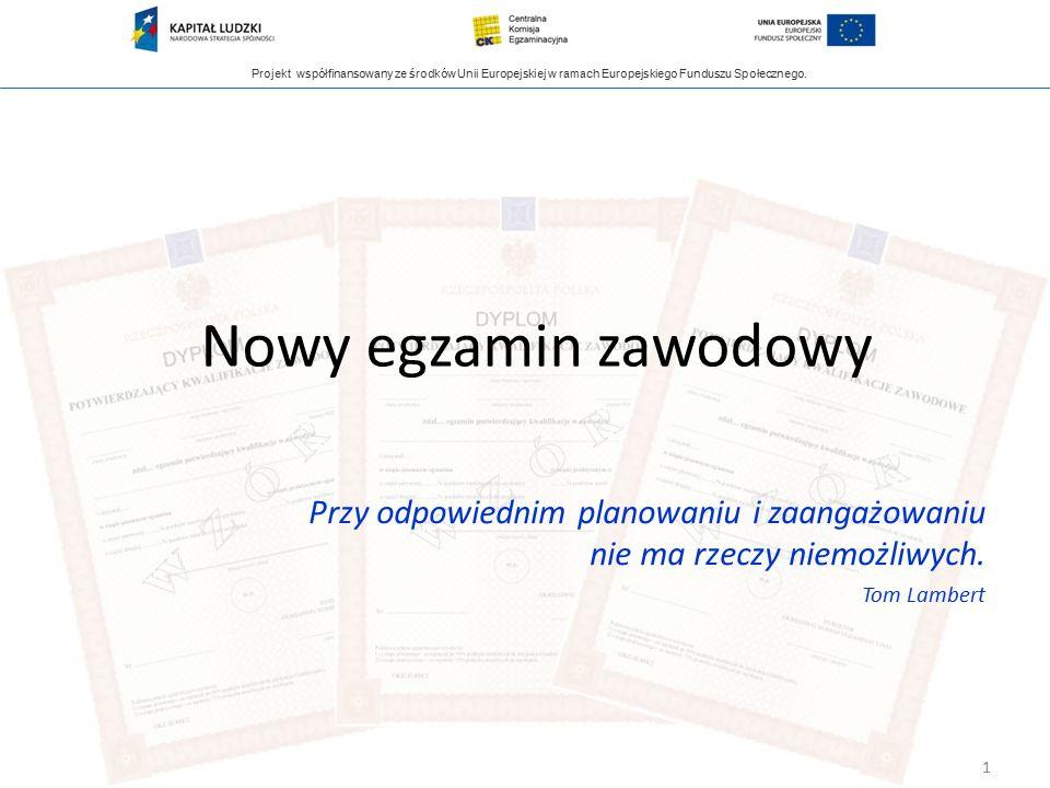 Projekt współfinansowany ze środków Unii Europejskiej w ramach Europejskiego Funduszu Społecznego. Nowy egzamin zawodowy 1 Przy odpowiednim planowaniu
