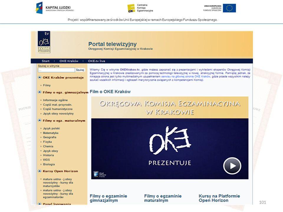 Projekt współfinansowany ze środków Unii Europejskiej w ramach Europejskiego Funduszu Społecznego. 101