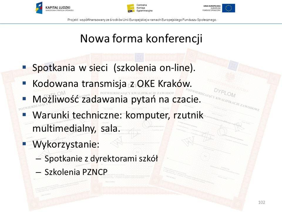 Projekt współfinansowany ze środków Unii Europejskiej w ramach Europejskiego Funduszu Społecznego. Nowa forma konferencji  Spotkania w sieci (szkolen