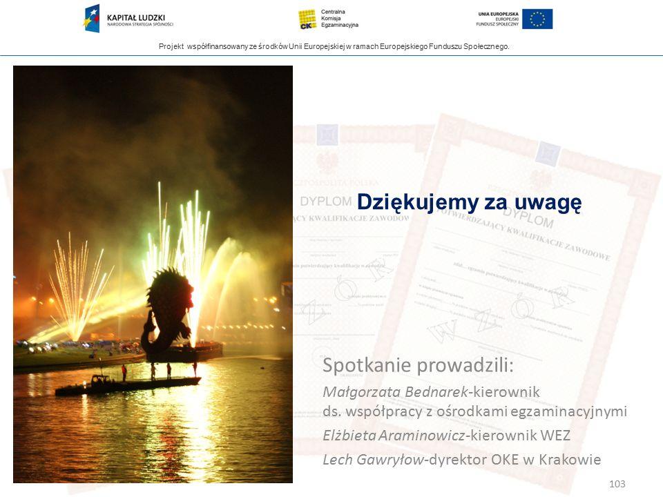 Projekt współfinansowany ze środków Unii Europejskiej w ramach Europejskiego Funduszu Społecznego. 103 Spotkanie prowadzili: Małgorzata Bednarek-kiero