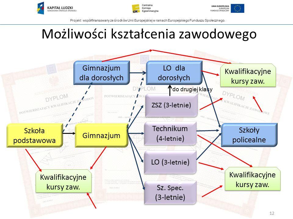 Projekt współfinansowany ze środków Unii Europejskiej w ramach Europejskiego Funduszu Społecznego. Możliwości kształcenia zawodowego Gimnazjum dla dor