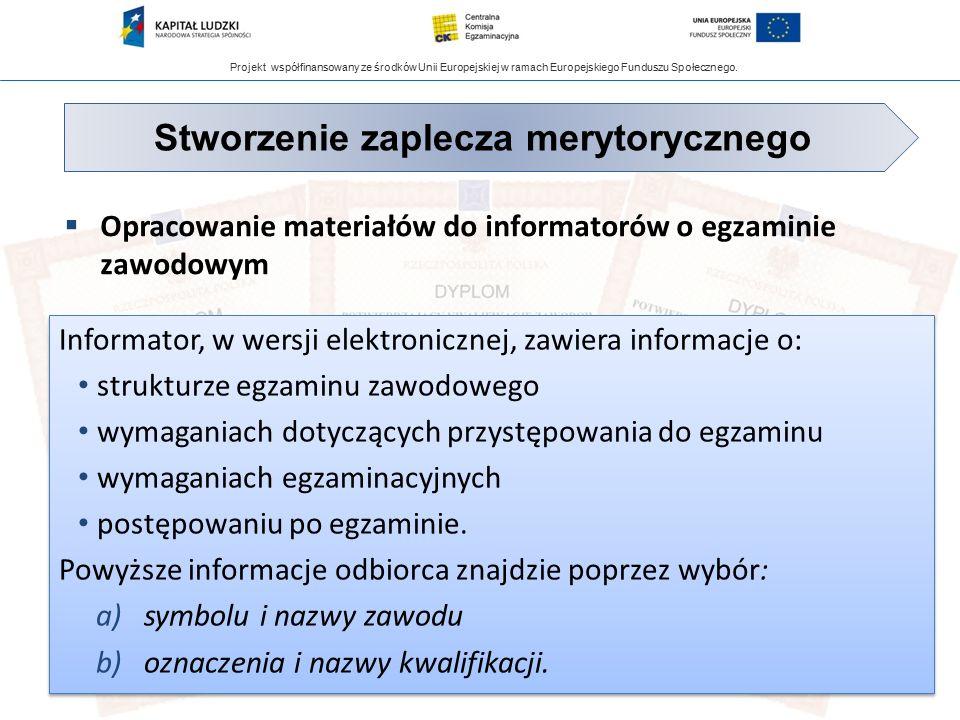 Projekt współfinansowany ze środków Unii Europejskiej w ramach Europejskiego Funduszu Społecznego.  Opracowanie materiałów do informatorów o egzamini