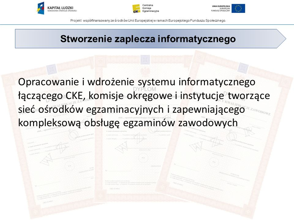 Opracowanie i wdrożenie systemu informatycznego łączącego CKE, komisje okręgowe i instytucje tworzące sieć ośrodków egzaminacyjnych i zapewniającego k