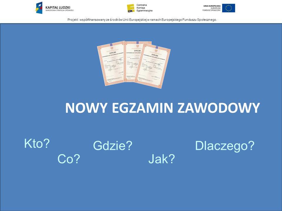 Projekt współfinansowany ze środków Unii Europejskiej w ramach Europejskiego Funduszu Społecznego. NOWY EGZAMIN ZAWODOWY Co? Kto? Gdzie? Jak? Dlaczego