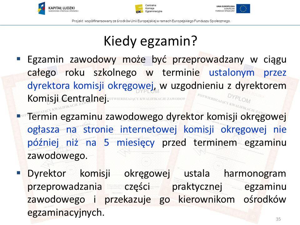 Projekt współfinansowany ze środków Unii Europejskiej w ramach Europejskiego Funduszu Społecznego. Kiedy egzamin?  Egzamin zawodowy może być przeprow