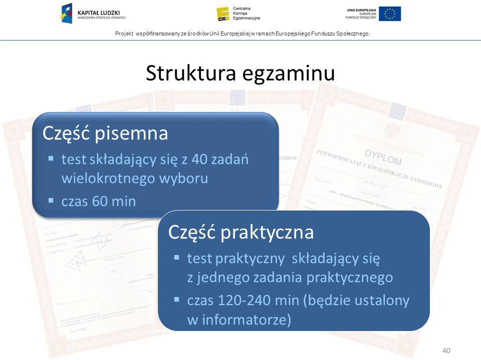 Projekt współfinansowany ze środków Unii Europejskiej w ramach Europejskiego Funduszu Społecznego. Struktura egzaminu Część pisemna  test składający