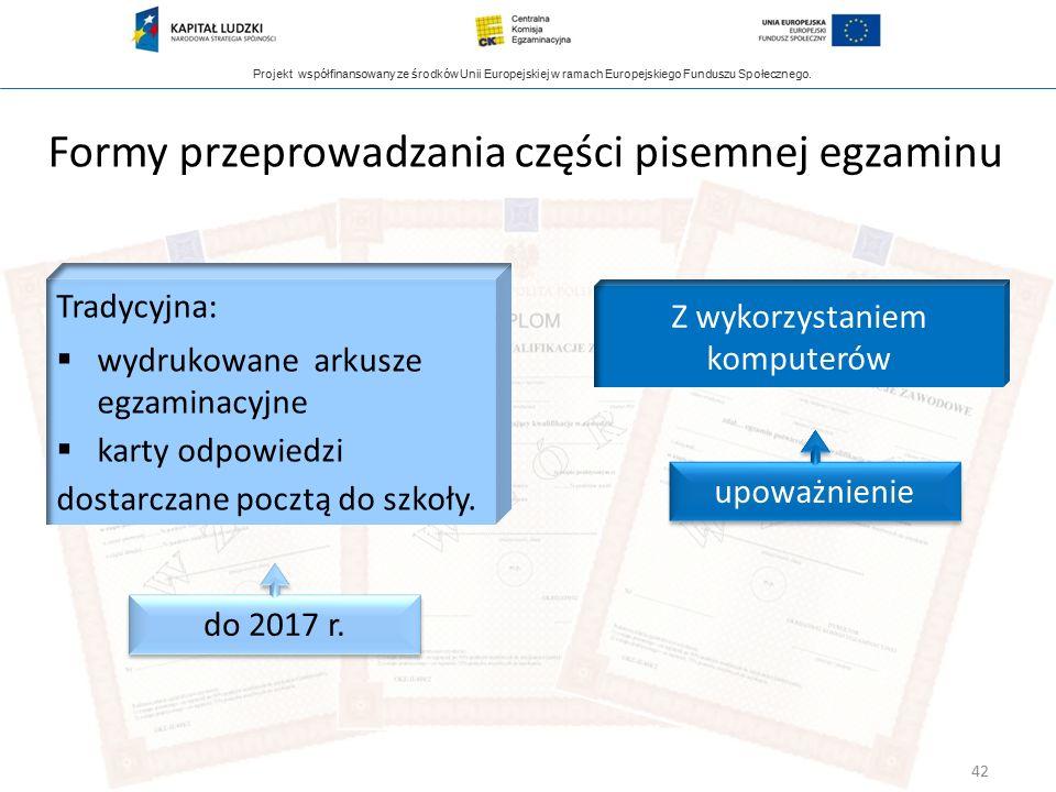 Projekt współfinansowany ze środków Unii Europejskiej w ramach Europejskiego Funduszu Społecznego. Formy przeprowadzania części pisemnej egzaminu Trad