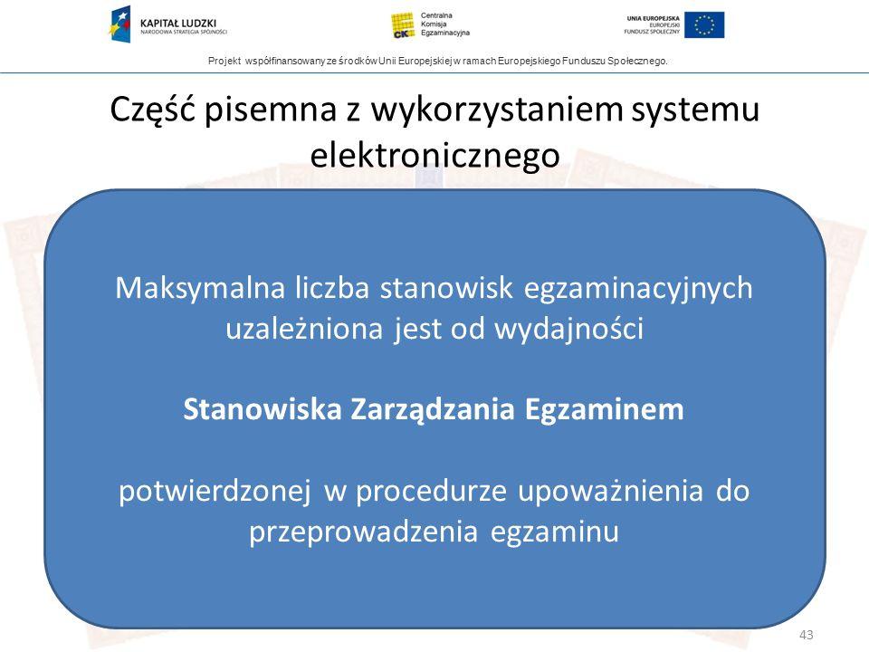 Projekt współfinansowany ze środków Unii Europejskiej w ramach Europejskiego Funduszu Społecznego. Część pisemna z wykorzystaniem systemu elektroniczn