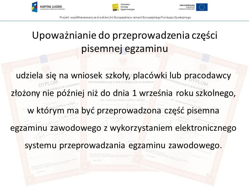 Projekt współfinansowany ze środków Unii Europejskiej w ramach Europejskiego Funduszu Społecznego. Upoważnianie do przeprowadzenia części pisemnej egz