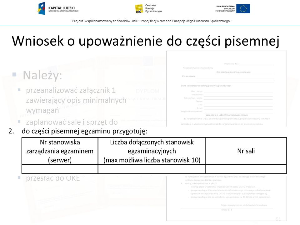 Projekt współfinansowany ze środków Unii Europejskiej w ramach Europejskiego Funduszu Społecznego. Wniosek o upoważnienie do części pisemnej  Należy: