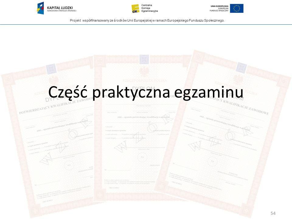 Projekt współfinansowany ze środków Unii Europejskiej w ramach Europejskiego Funduszu Społecznego. Część praktyczna egzaminu 54