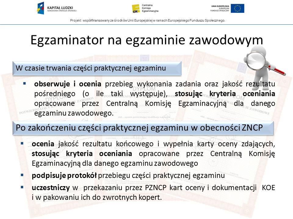 Projekt współfinansowany ze środków Unii Europejskiej w ramach Europejskiego Funduszu Społecznego. Egzaminator na egzaminie zawodowym  obserwuje i oc