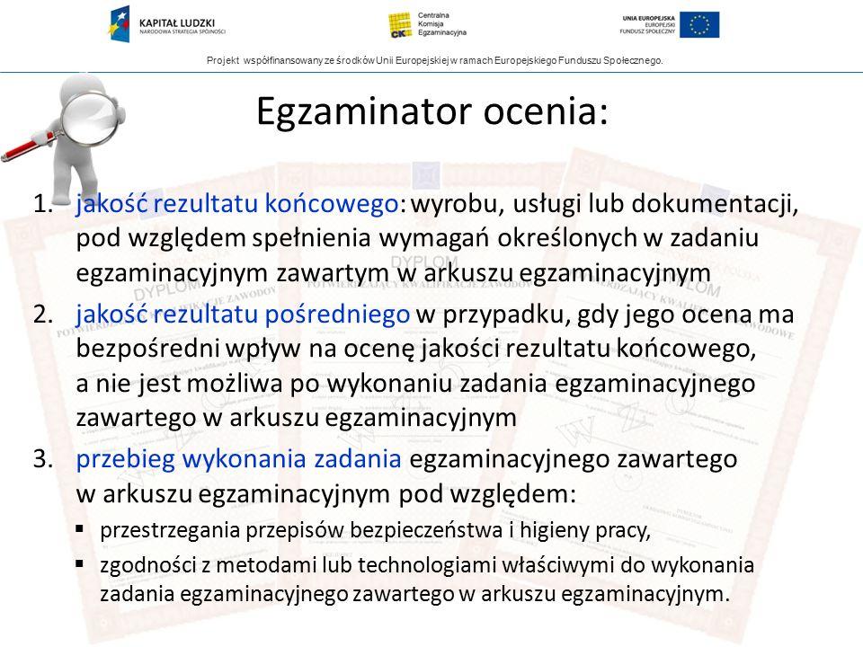 Projekt współfinansowany ze środków Unii Europejskiej w ramach Europejskiego Funduszu Społecznego. Egzaminator ocenia: 1.jakość rezultatu końcowego: w