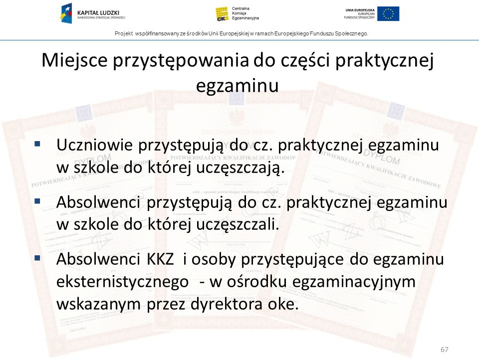 Projekt współfinansowany ze środków Unii Europejskiej w ramach Europejskiego Funduszu Społecznego. Miejsce przystępowania do części praktycznej egzami