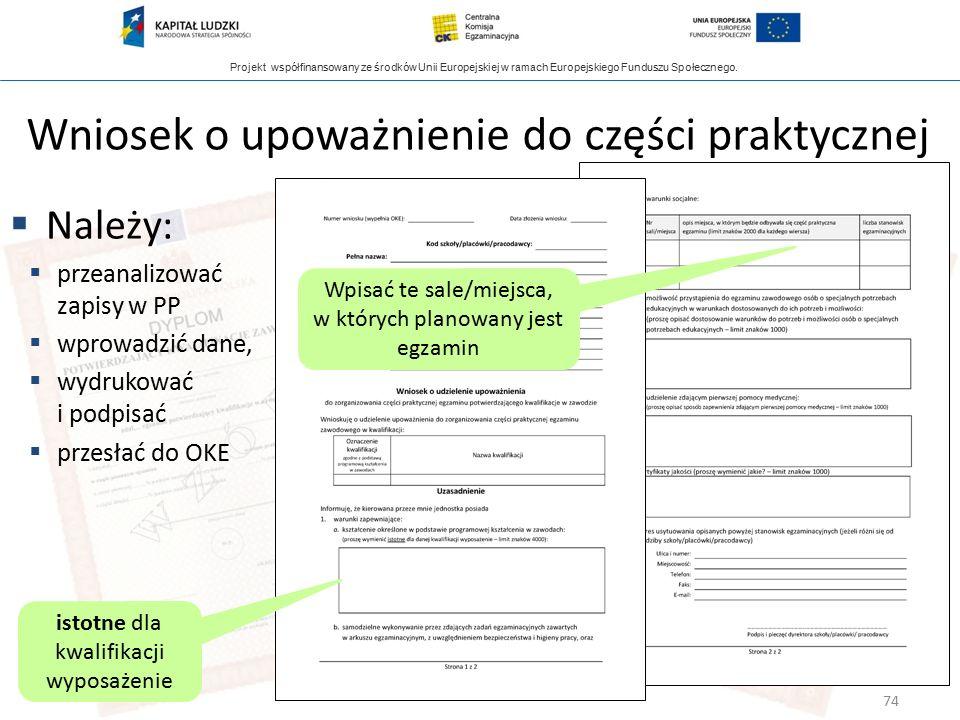 Projekt współfinansowany ze środków Unii Europejskiej w ramach Europejskiego Funduszu Społecznego. Wniosek o upoważnienie do części praktycznej  Nale