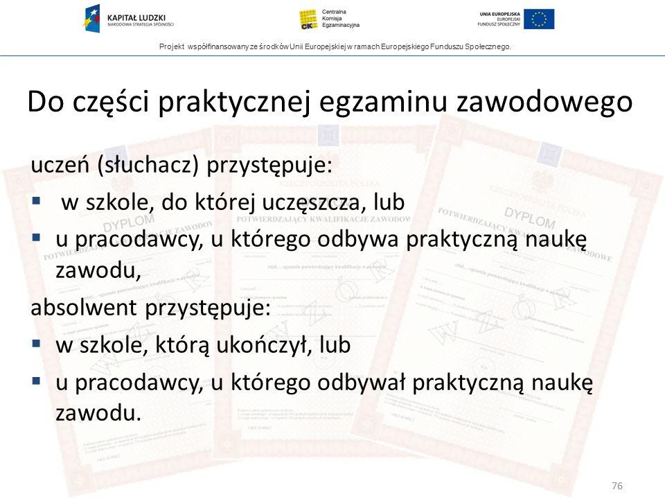 Projekt współfinansowany ze środków Unii Europejskiej w ramach Europejskiego Funduszu Społecznego. Do części praktycznej egzaminu zawodowego uczeń (sł