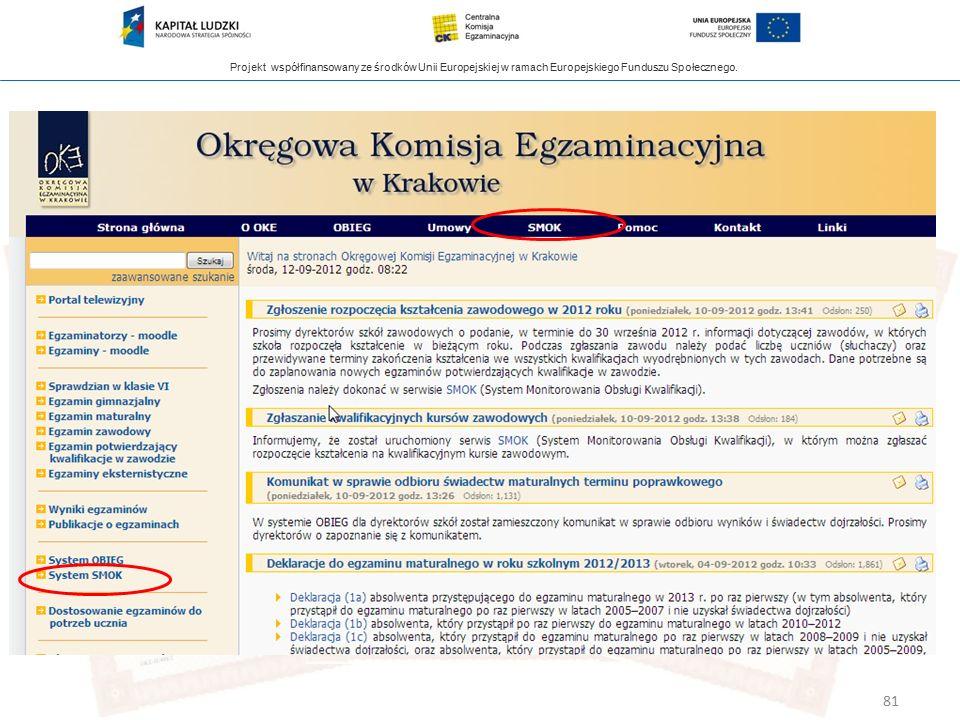 Projekt współfinansowany ze środków Unii Europejskiej w ramach Europejskiego Funduszu Społecznego. 81