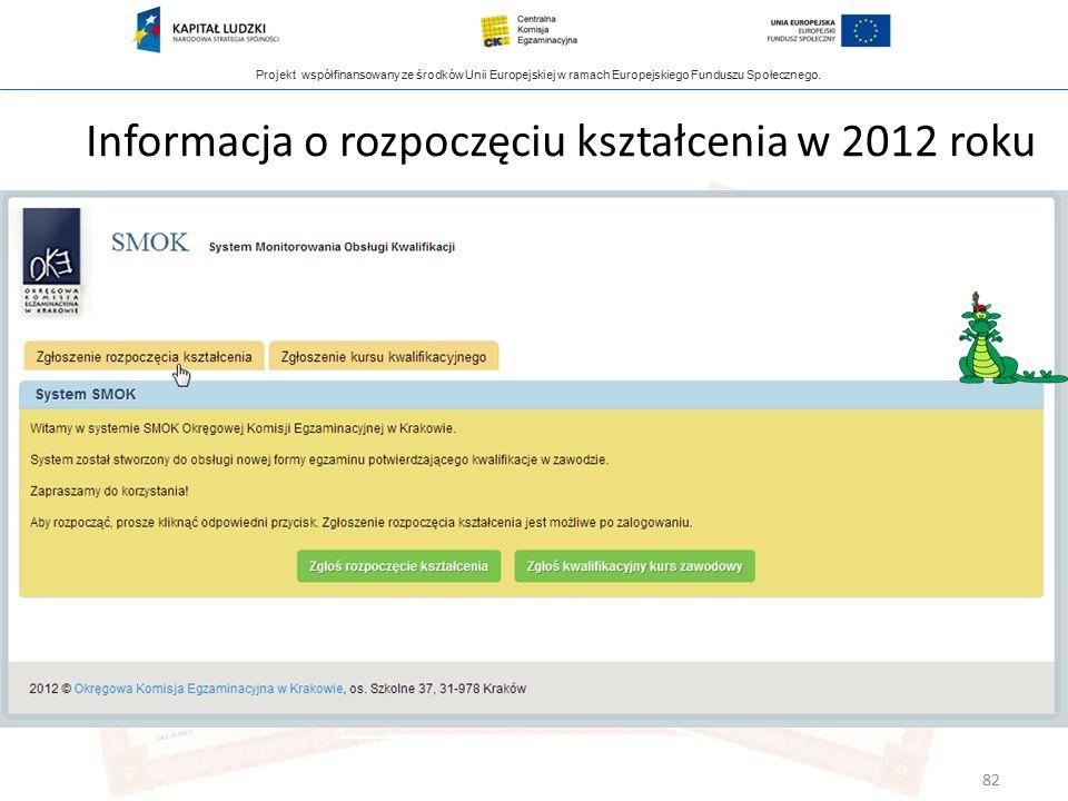 Projekt współfinansowany ze środków Unii Europejskiej w ramach Europejskiego Funduszu Społecznego. Informacja o rozpoczęciu kształcenia w 2012 roku 82