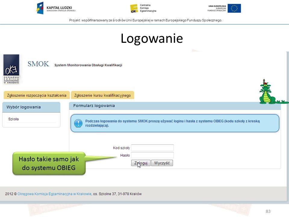 Projekt współfinansowany ze środków Unii Europejskiej w ramach Europejskiego Funduszu Społecznego. Logowanie Hasło takie samo jak do systemu OBIEG 83
