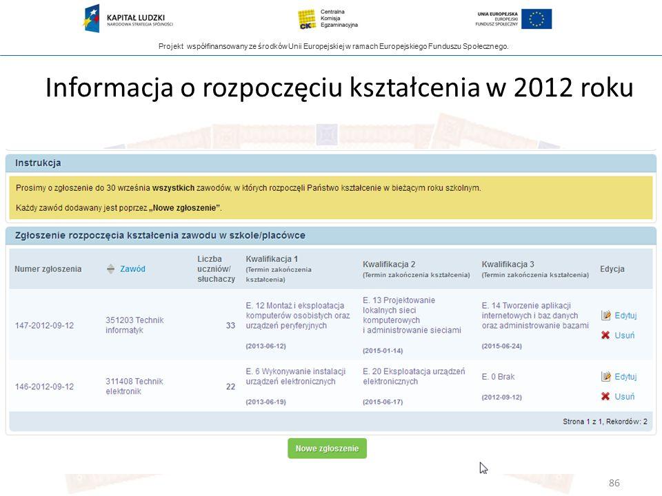 Projekt współfinansowany ze środków Unii Europejskiej w ramach Europejskiego Funduszu Społecznego. Informacja o rozpoczęciu kształcenia w 2012 roku 86