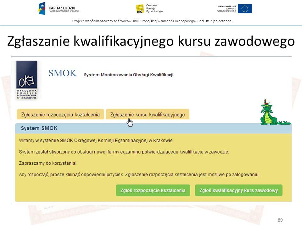 Projekt współfinansowany ze środków Unii Europejskiej w ramach Europejskiego Funduszu Społecznego. Zgłaszanie kwalifikacyjnego kursu zawodowego 89