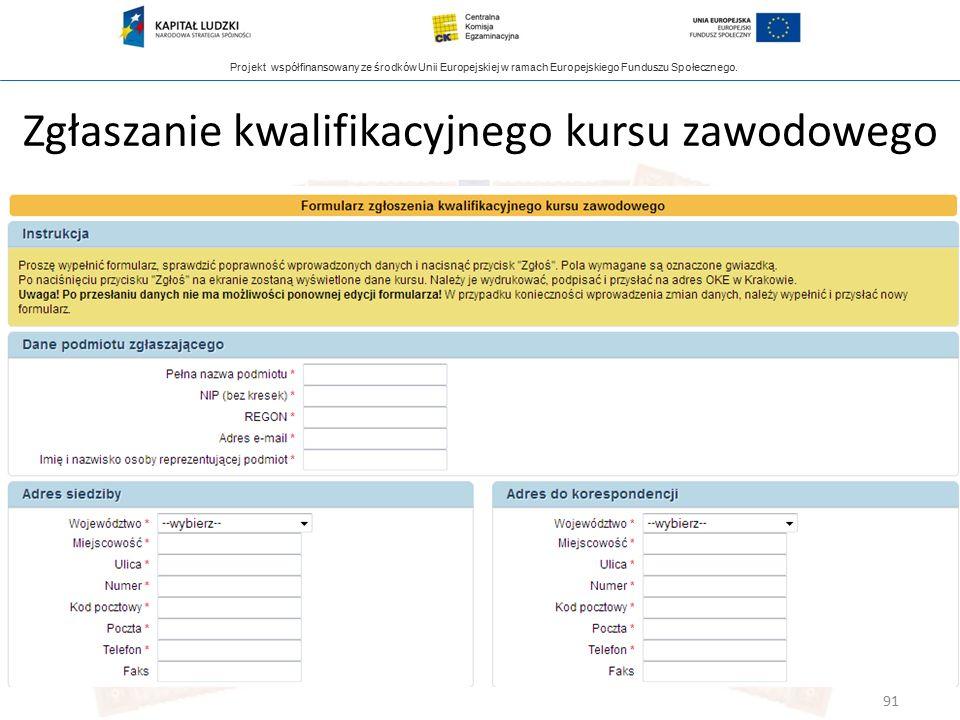 Projekt współfinansowany ze środków Unii Europejskiej w ramach Europejskiego Funduszu Społecznego. Zgłaszanie kwalifikacyjnego kursu zawodowego 91