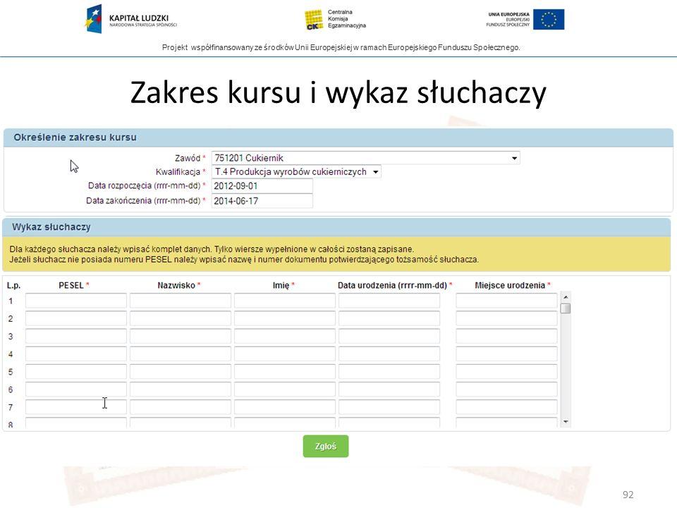 Projekt współfinansowany ze środków Unii Europejskiej w ramach Europejskiego Funduszu Społecznego. Zakres kursu i wykaz słuchaczy 92