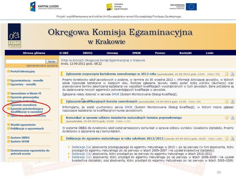 Projekt współfinansowany ze środków Unii Europejskiej w ramach Europejskiego Funduszu Społecznego. 95