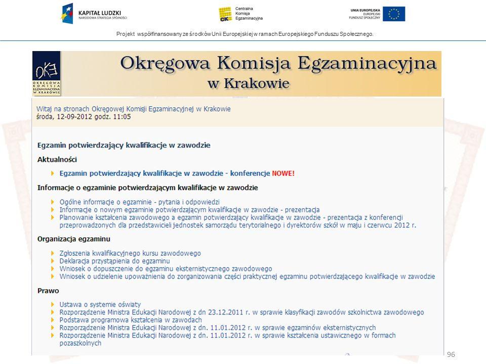 Projekt współfinansowany ze środków Unii Europejskiej w ramach Europejskiego Funduszu Społecznego. 96