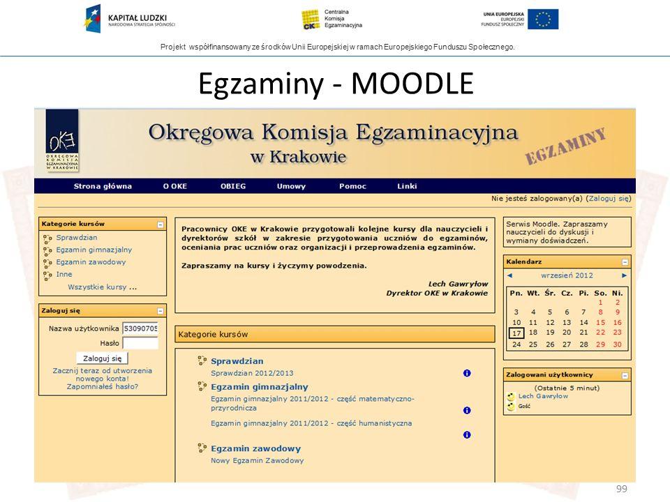 Projekt współfinansowany ze środków Unii Europejskiej w ramach Europejskiego Funduszu Społecznego. 99 Egzaminy - MOODLE