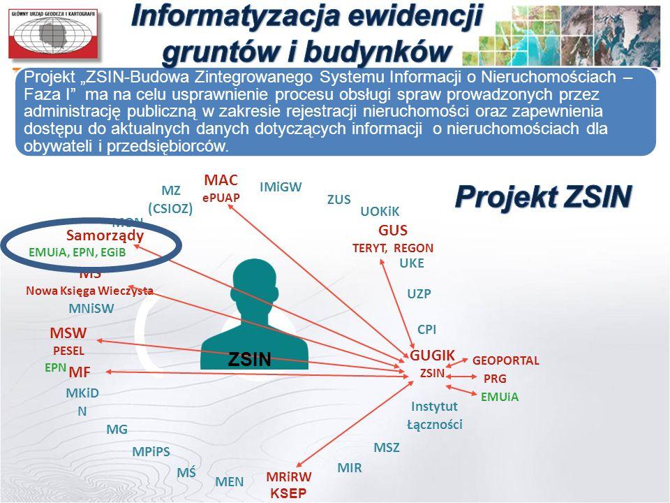 """Projekt """"ZSIN-Budowa Zintegrowanego Systemu Informacji o Nieruchomościach – Faza I"""" ma na celu usprawnienie procesu obsługi spraw prowadzonych przez a"""