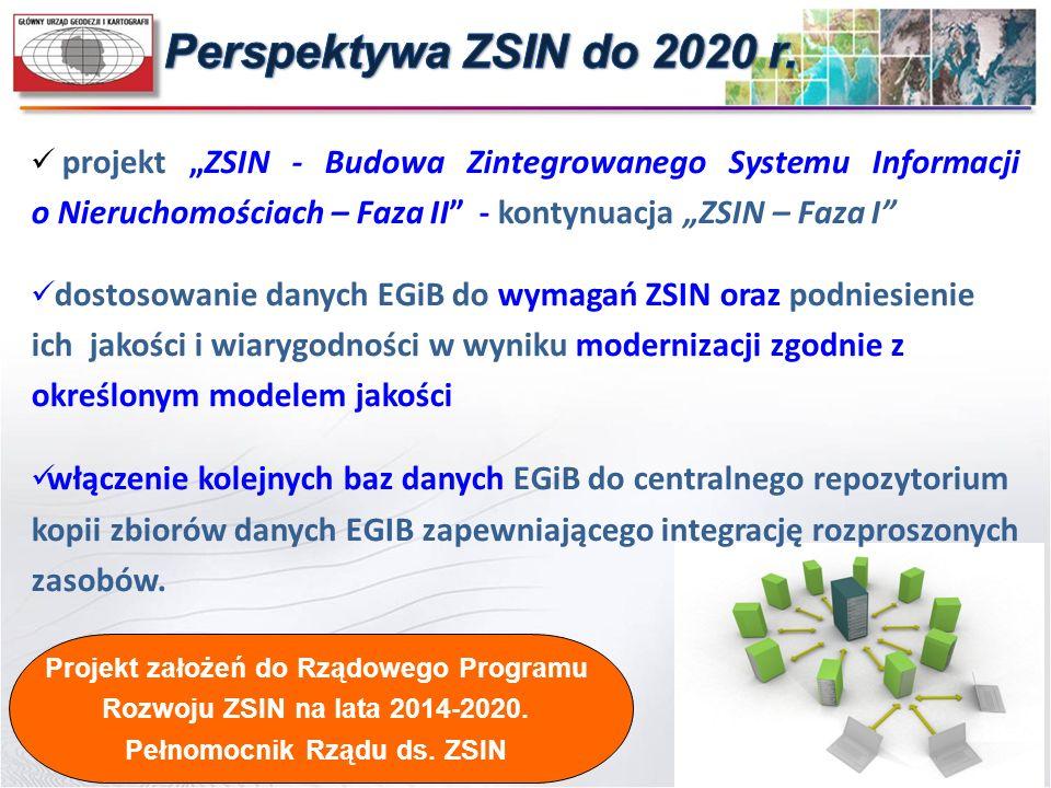 """projekt """"ZSIN - Budowa Zintegrowanego Systemu Informacji o Nieruchomościach – Faza II"""" - kontynuacja """"ZSIN – Faza I"""" dostosowanie danych EGiB do wymag"""