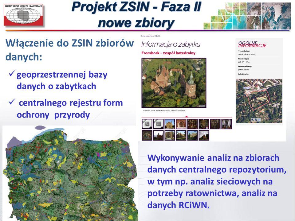 Włączenie do ZSIN zbiorów danych: geoprzestrzennej bazy danych o zabytkach centralnego rejestru form ochrony przyrody Wykonywanie analiz na zbiorach d
